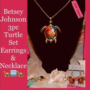 Betsey Johnson Turtle 3pc Set Necklace/Earrings 🆕